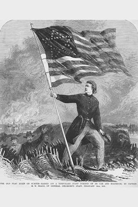 Bragg Hoists Sumter Flag over Fort Poster Print by Frank  Leslie - Item # VARBLL0587330554