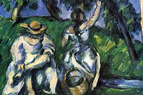 Two ladies pick fruit from a tree Poster Print by Paul  Cezanne - Item # VARBLL058725355x