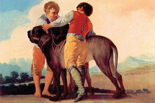 Two boys with a giant Mastiff Poster Print by Francisco  Goya - Item # VARBLL0587263997
