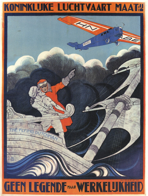 Myth of the Flying Dutchman advertising KLM Dutch Airlines. Tony Fokker escaped from Germany after WWI and began building aircraft Poster Print by Anthonius Mathiew - Item # VARBLL0587351489