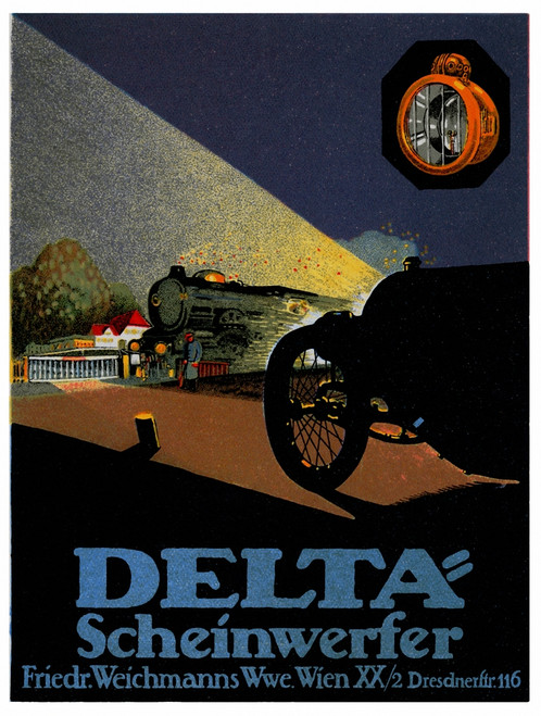 Train is lit by Auto approaching by the car's high beams Poster Print by unknown - Item # VARBLL0587412763