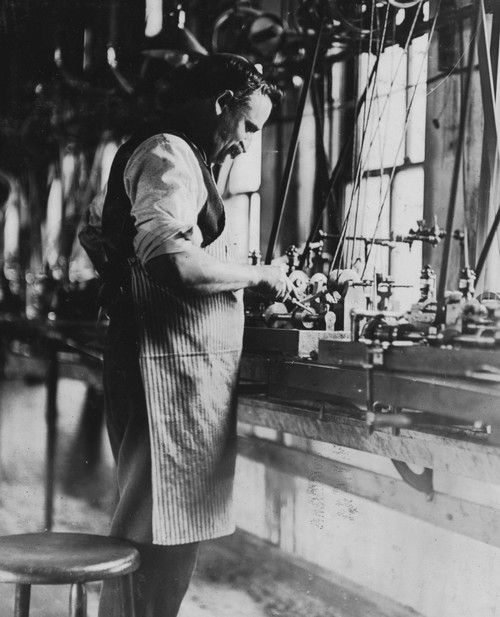 Watch Co., These machines automatically make the tiny screws used in watches: One man tends to 14 machines. A lesson for glass works Mgrs. Poster Print - Item # VARBLL058754460L