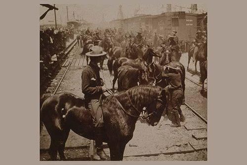 Crowded Scene of horses and riders disembarking from trains at Tampa on their way to Cuba Poster Print - Item # VARBLL058723735x