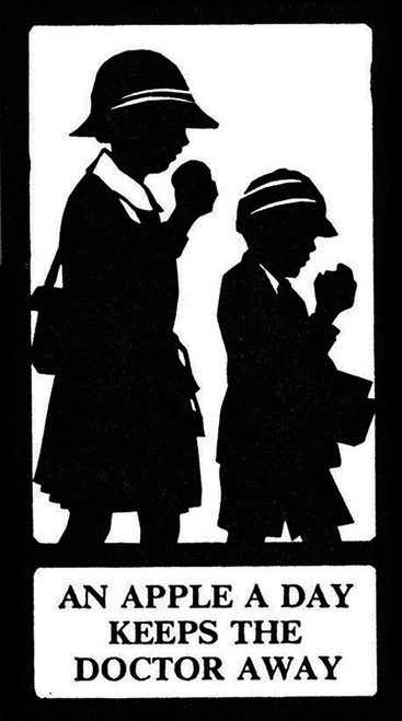 Silhouette  An Apple A Day Keeps The Doctor Away Poster Print By ®H L Oakley / Mary Evans - Item # VARMEL10504090
