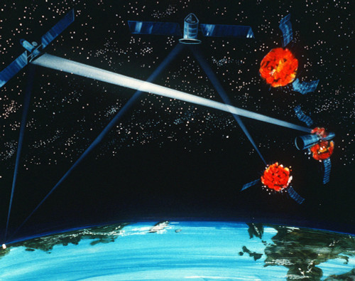 1984 Military Artist'S Concept Of A Hybrid Ground And Space-Based Laser Weapon Destroying Enemy Satellites. History - Item # VAREVCHISL027EC275