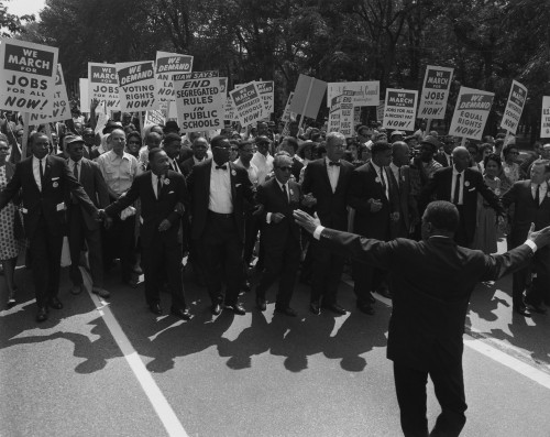 1963 March On Washington. Famous Civil Rights Leaders At The Front Of The March. Group Includes Floyd Mckissick History - Item # VAREVCHISL033EC488