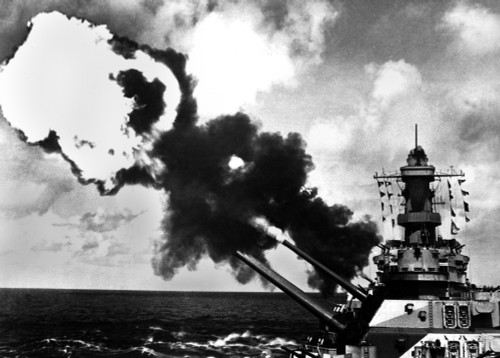 16 Inch Guns Of The Uss Iowa Firing During World War 2 Battle Drill In The Pacific. Ca. 1944. History - Item # VAREVCHISL036EC344