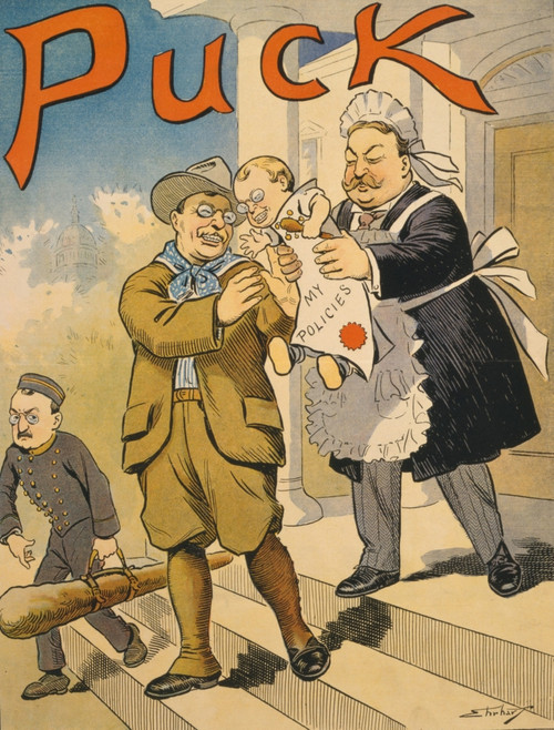 """Cartoon Commenting On The Transition From Roosevelt To Taft Presidency In 1909. Cartoon Caption Is """"Baby History - Item # VAREVCHISL002EC139"""