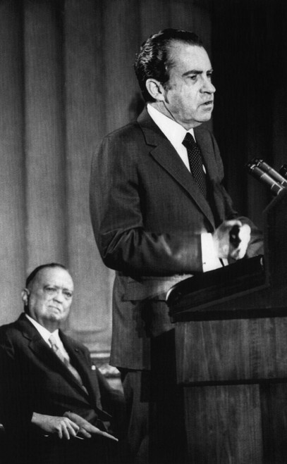 1971 Us Presidency. Fbi Director J. Edgar Hoover Watches As President Richard Nixon Delivers Speech At The Fbi National Academy Graduation Exercises History - Item # VAREVCPBDRINIEC060