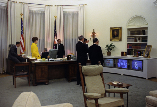 President Lyndon Johnson And His Staff Watch Tv News Reporting The Assassination Of Dr. Martin Luther King. April 4 History - Item # VAREVCHISL033EC429