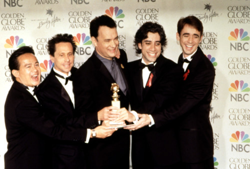 Tom Hanks, Brian Grazer,, And Production Team, Win A Golden Globe Award For From The Earth To The Moon, 1999 Celebrity - Item # VAREVCPSDTOHAHR013