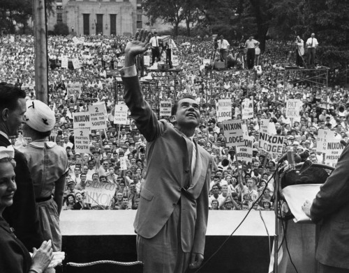 1960 Presidential Campaign. Presidential Candidate Richard Nixon Waving To Crowds During A Campaign Visit To Birmingham History - Item # VAREVCPBDRINIEC017