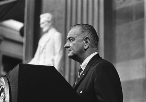 President Lyndon Johnson Speaking In The Capitol Rotunda Before Signing The Voting Rights Act. August 6 History - Item # VAREVCHISL033EC104