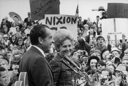 Nixon 1972 Re-Election Campaign. President And Pat Nixon Arriving At Portland Oregon. History - Item # VAREVCHISL032EC134