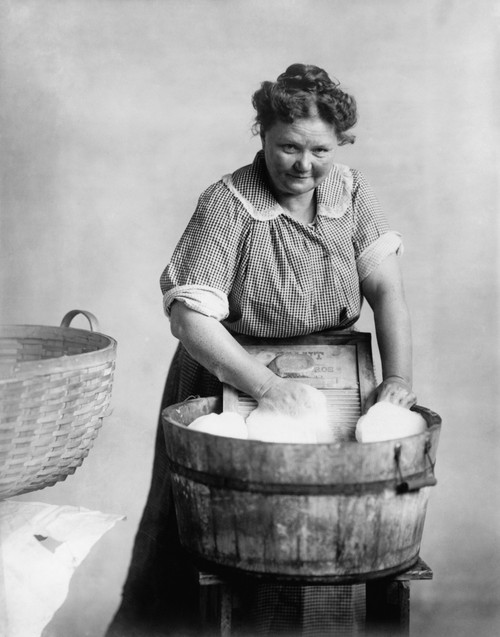 Woman Doing Laundry In Wooden Tub And Metal Washboard History - Item # VAREVCHISL020EC043