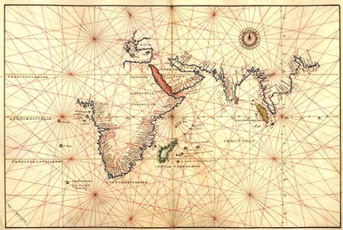 1544 Nautical Map Of The Indian Ocean Showing Africa History - Item # VAREVCHISL001EC103