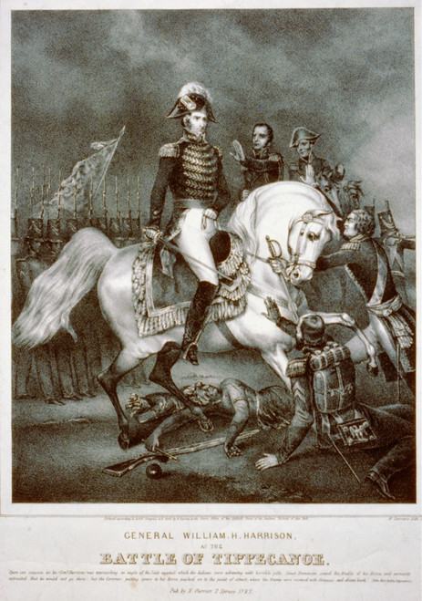 General William H. Harrison At The Battle Of Tippecanoe. The Print Was Published During Harrison'S Successful 1840 Campaign For The Presidency. History - Item # VAREVCHISL030EC233