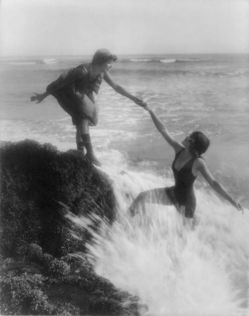 Two Bathing Beauties At Seaside. Publicity Shot For Mack Sennett Productions History - Item # VAREVCHCDLCGBEC646