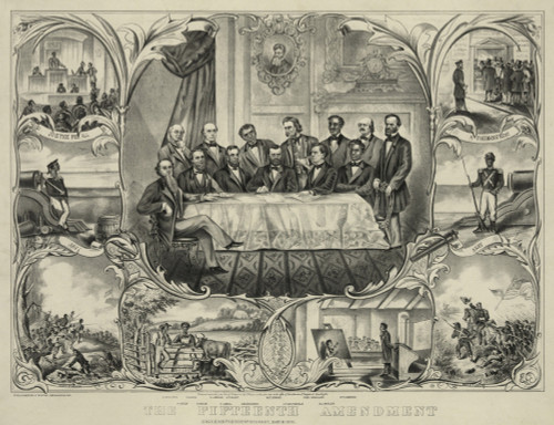 President Grant With Group Of Men Signing The 15Th Amendment Banning Voting Racial Discrimination. Vignettes Along Sides And Bottom Show African Americans In Military Service History - Item # VAREVCHISL009EC198