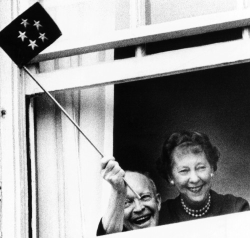 Former President Dwight Eisenhower Waves A Five Star Flag From His Room At Walter Reed Army Medical Center On His 78Th Birthday. The General History - Item # VAREVCCSUA000CS235