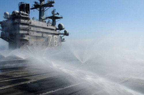 Sprinklers Spray The Flight Deck Of The Uss Ronald Reagan After Radioactive Fallout From Tsunami Damaged Nuclear Power Plants. March 23 2011. History - Item # VAREVCHISL025EC216