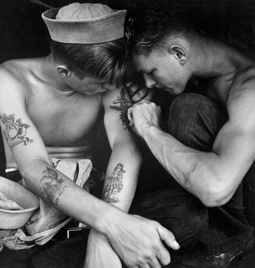 Tattooed Sailor Aboard The Uss New Jersey History - Item # VAREVCHISL036EC688