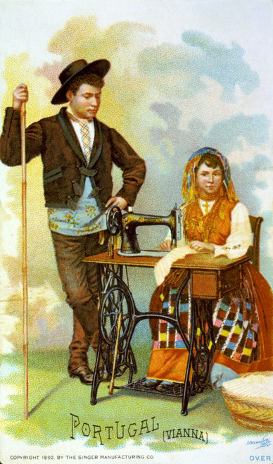 Chromolithograph Depicting People From Portugal With A Sewing Machine History - Item # VAREVCHCDPORTEC005