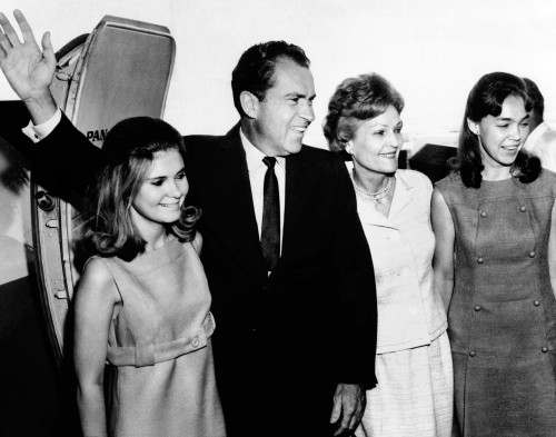 Former Vice Pres. Richard Nixon Leaving New York For Fact Finding Trip To The Near East And Africa. L-R Tricia Nixon History - Item # VAREVCCSUA000CS464