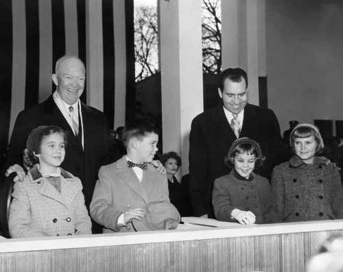 David Eisenhower Next To The Girl Her Would Marry 12 Years Later. President Eisenhower On The Inaugural Parade Reviewing Stand With His Grandchildren History - Item # VAREVCHISL039EC087