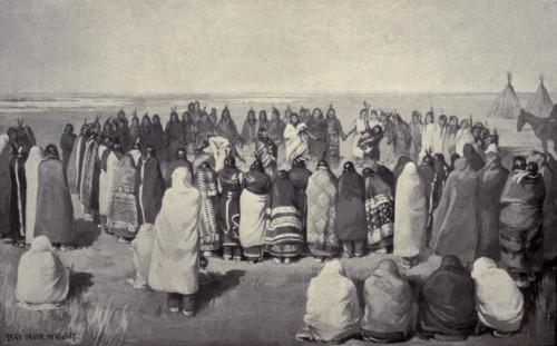 Native American Ghost Dancers In A Large Circle History - Item # VAREVCHISL046EC419
