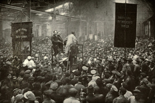 Meeting In The Putilov Works In Petrograd During The 1917 Russian Revolution. In February 1917 Strikes At The Factory Contributed To The February Revolution. History - Item # VAREVCHISL035EC101