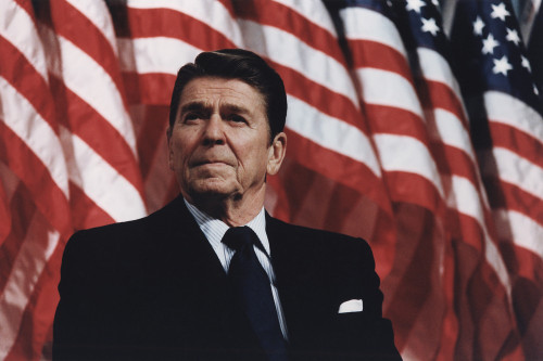 President Reagan Speaking At A Rally For Senator Durenberger In Bloomington Minnesota. February 8 1982. Po-Usp-ReaganNa-12-0063M History - Item # VAREVCHISL023EC088