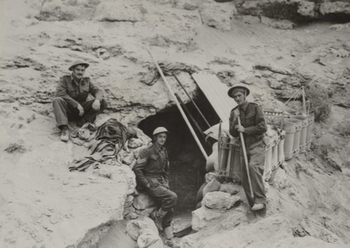 British Defenders Of The Tobruk Garrison Find Sanctuary From The Nightly Bombing. They Shelter In Dug Out Caves With Six To Ten Feet Of Solid Rock As A Roof. April - Nov. 1942 During World War 2. History - Item # VAREVCHISL036EC617