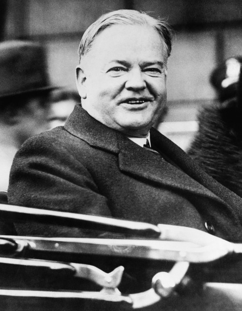 President Herbert Hoover Smiling From An Open Car As He Attended The American Legion Convention. Boston History - Item # VAREVCHISL041EC032