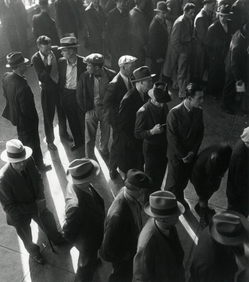 Unemployed Men Wait In Line To File Social Security Benefit Claims. In January 1938 History - Item # VAREVCHISL035EC669