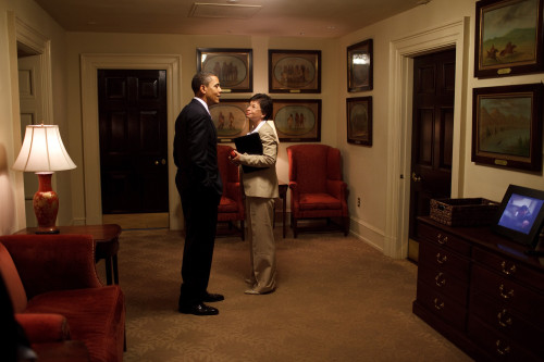 President Obama And Valerie Jarrett Chat Outside The Oval Office Surrounded By George Catlin'S Painting Of Native Americans. June 12 2009. History - Item # VAREVCHISL027EC119