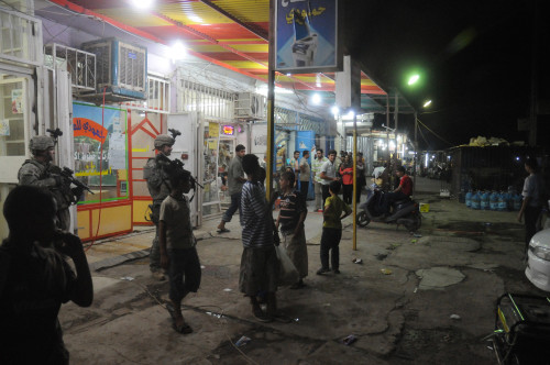 Us Soldiers On A Busy Night In The Al-Beidh'A District Of Baghdad. Aug. 27 2008. History - Item # VAREVCHISL027EC159