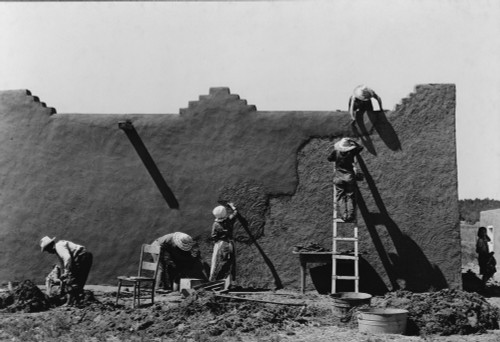 Spanish-American Women Engaged In The Yearly Re-Plastering An Adobe House In Adobe History - Item # VAREVCHISL016EC215