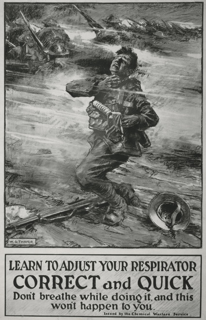 British Poster Instructing Soldiers In Use Of Ww1 Gas Masks. 1915. It Reads History - Item # VAREVCHISL034EC929
