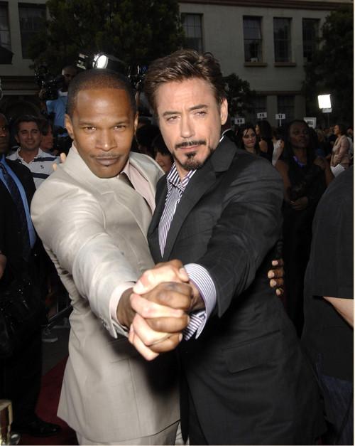 Jamie Foxx, Robert Downey Jr. At Arrivals For The Soloist Premiere, Paramount Theatre, Los Angeles, Ca April 20, 2009. Photo By Michael GermanaEverett Collection Celebrity - Item # VAREVC0920APDGM034