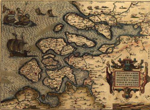 1570 Map Of Zeeland. From Abraham Ortelius' Atlas History - Item # VAREVCHISL001EC175