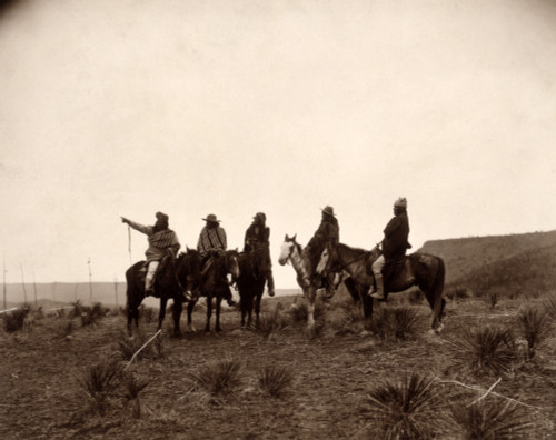 Apaches. The Lost Trail- Five Apache On Horseback In The Desert. Photo By Edward S. Curtis History - Item # VAREVCHCDLCGCEC771