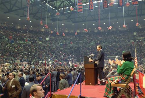 Nixon 1972 Re-Election Campaign. Richard Nixon Speaking At A Campaign Event At Nassau County Coliseum In New York. Oct. 23 1972. History - Item # VAREVCHISL032EC144