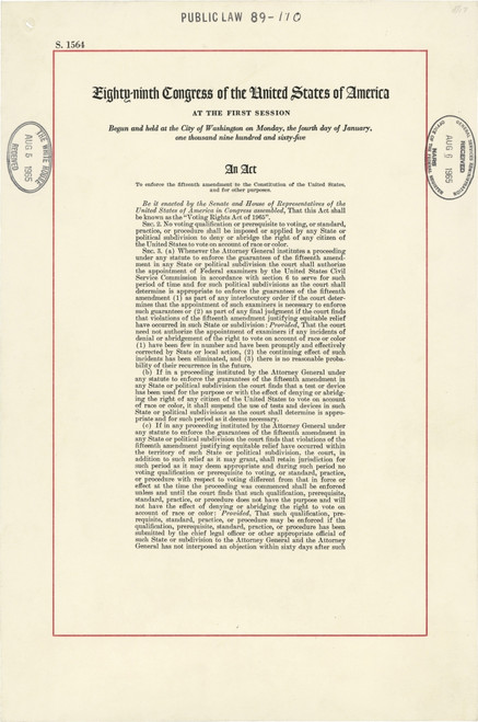 1965 Voting Rights Act. The Full Title Of The Law Was 'An Act To Enforce The Fifteenth Amendment To The Constitution Of The United States History - Item # VAREVCHISL033EC443