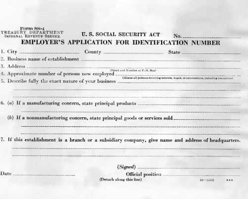 Initiation Of Social Security In 1936. Employers Application For Social Security. The Employer'S Application For Identification Number History - Item # VAREVCCSUA000CS889