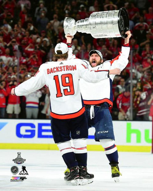Alex Ovechkin & Nicklas Backstrom with the Stanley Cup Championship Trophy Game 5 of the 2018 Stanley Cup Finals Photo Print - Item # VARPFSAAVI036