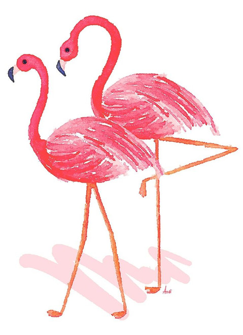 Flamingo Walk Watercolor II Poster Print by Andi Metz - Item # VARPDX12369G
