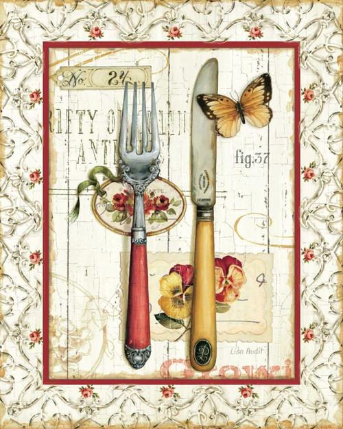Rose Garden Utensils I Red Poster Print by Lisa Audit - Item # VARPDX13303