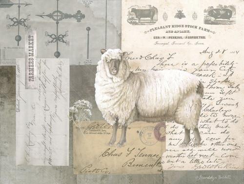 Sheep On Ephemera II Poster Print by Gwendolyn Babbitt - Item # VARPDXBAB491