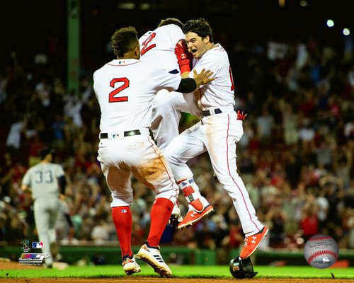 Andrew Benintendi celebrates after game winning walkoff hit to sweep the New York Yankees on August 5th, 2018 Photo Print - Item # VARPFSAAVL202